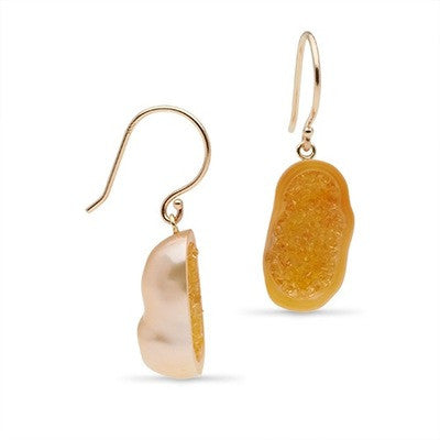 Yellow Sapphire Pearl Geode Earrings