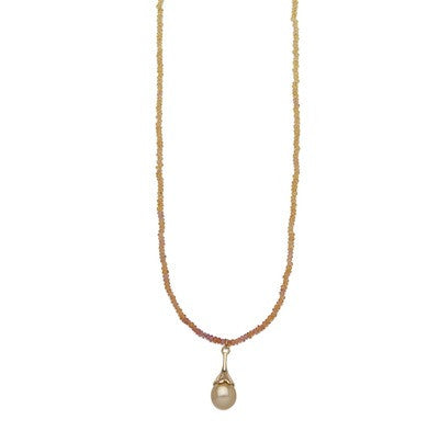 Golden Ombre Sapphire Necklace with Golden South Sea Drop