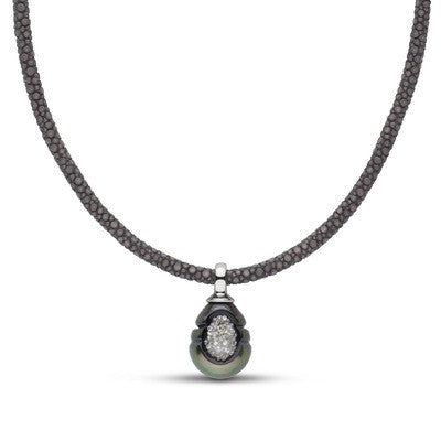 Tahitian Pearl and Diamond Reversible Necklace White Gold