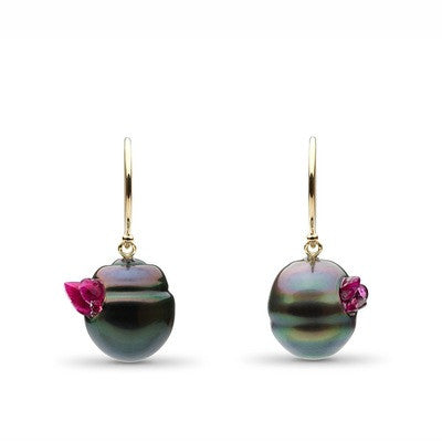 Point Collection Tahitian Pearl Ruby Earrings