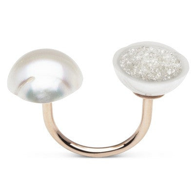 White South Sea Pearl and White Diamond Geode Ring