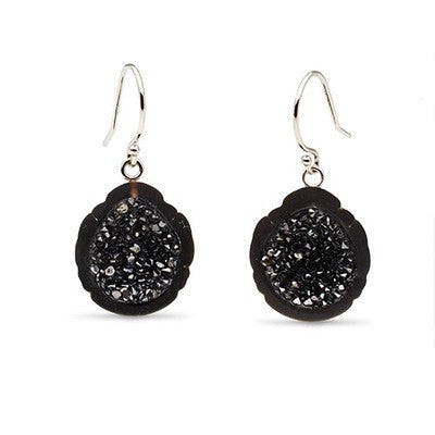 Tahitian Baroque Pearl and Black Diamond Geode Earrings