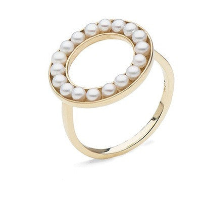 Circle Ring with Freshwater Seed Pearls