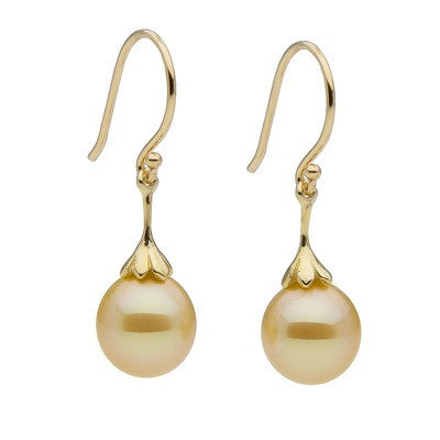 Golden South Sea Drop Pearl Earrings