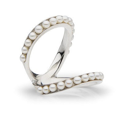 Double Band Ring with Seed Pearls