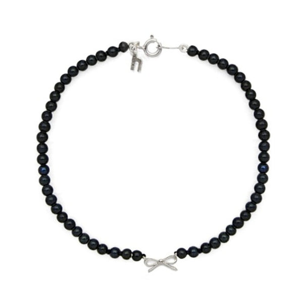 Black or White Freshwater Pearl with Bow Bracelet