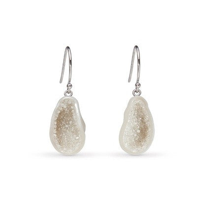 White Souffle Freshwater Pearl and Diamond Geode Earrings