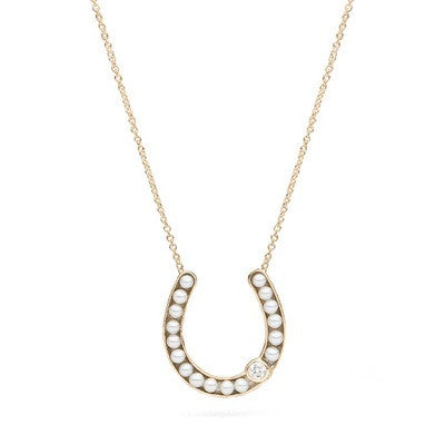 Horseshoe Pendant with Freshwater Seed Pearls and Diamond Accent