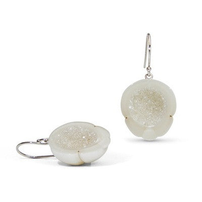 White South Sea Pearl and Diamond Geode Earrings