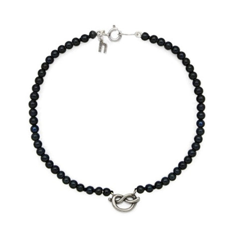 Black or White Freshwater Pearl with Pretzel Knot Bracelet