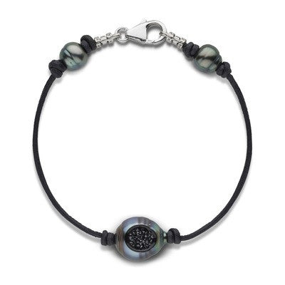 Tahitian Pearl and Diamond Reversible Bracelet in 14k White Gold