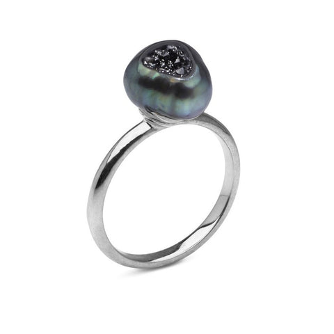 Tahitian Pearl and Black Diamond Ring .15cttw