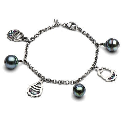 Tahitian Pearl and Green Diamond Charm Bracelet