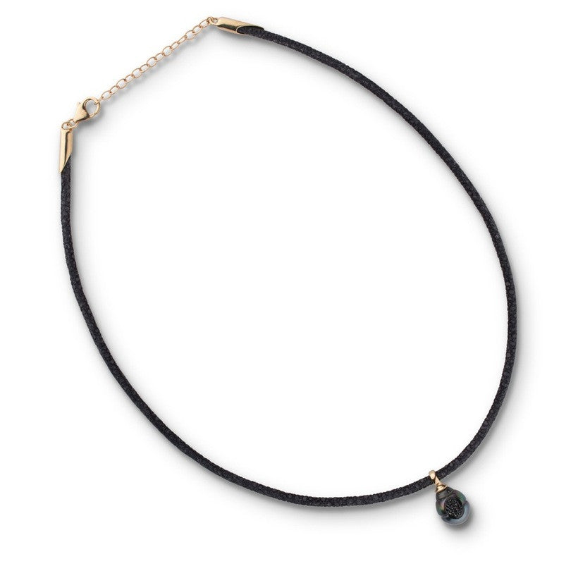 Tahitian Pearl and Diamond Reversible Necklace Yellow Gold