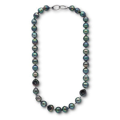 Tahitian Pearl and Black Diamond Necklace