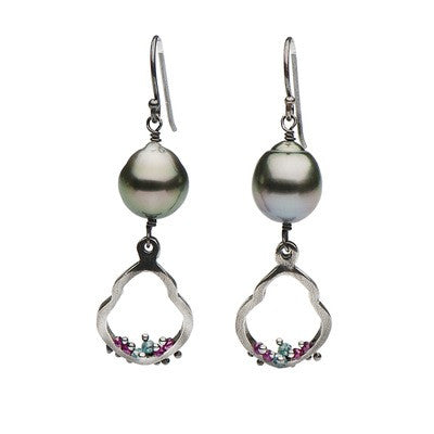 Tahitian Pearl, Diamond and Ruby Petite Dangle Earrings