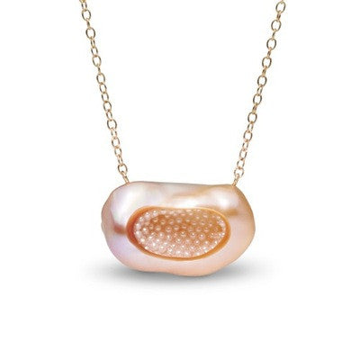 Pink Souffle Pearl and Seed Pearl Finestrino Pendant