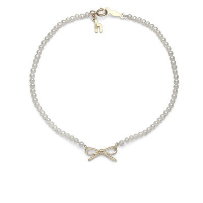 White Freshwater Pearl with Bow Bracelet
