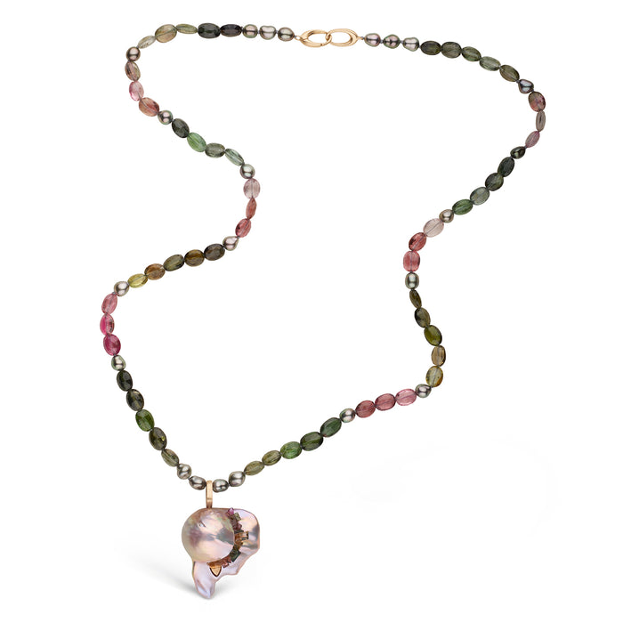 Fireball Pearl Spiral Tourmaline Pendant on a Beaded Tourmaline Necklace
