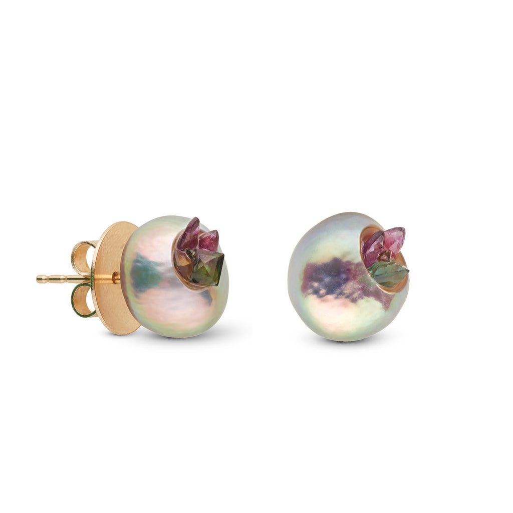 Baroque Pearl and Tourmaline Stud Earrings