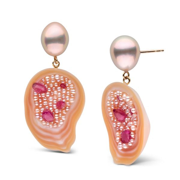 Pearl Geode Freshwater Drop Earrings with Seed Pearls and Rubies