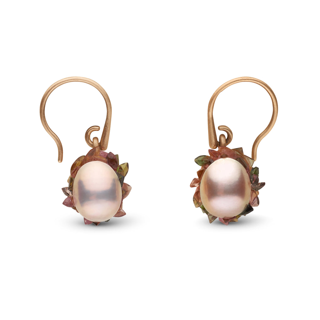 Edison Pearl Spiral Tourmaline Earrings