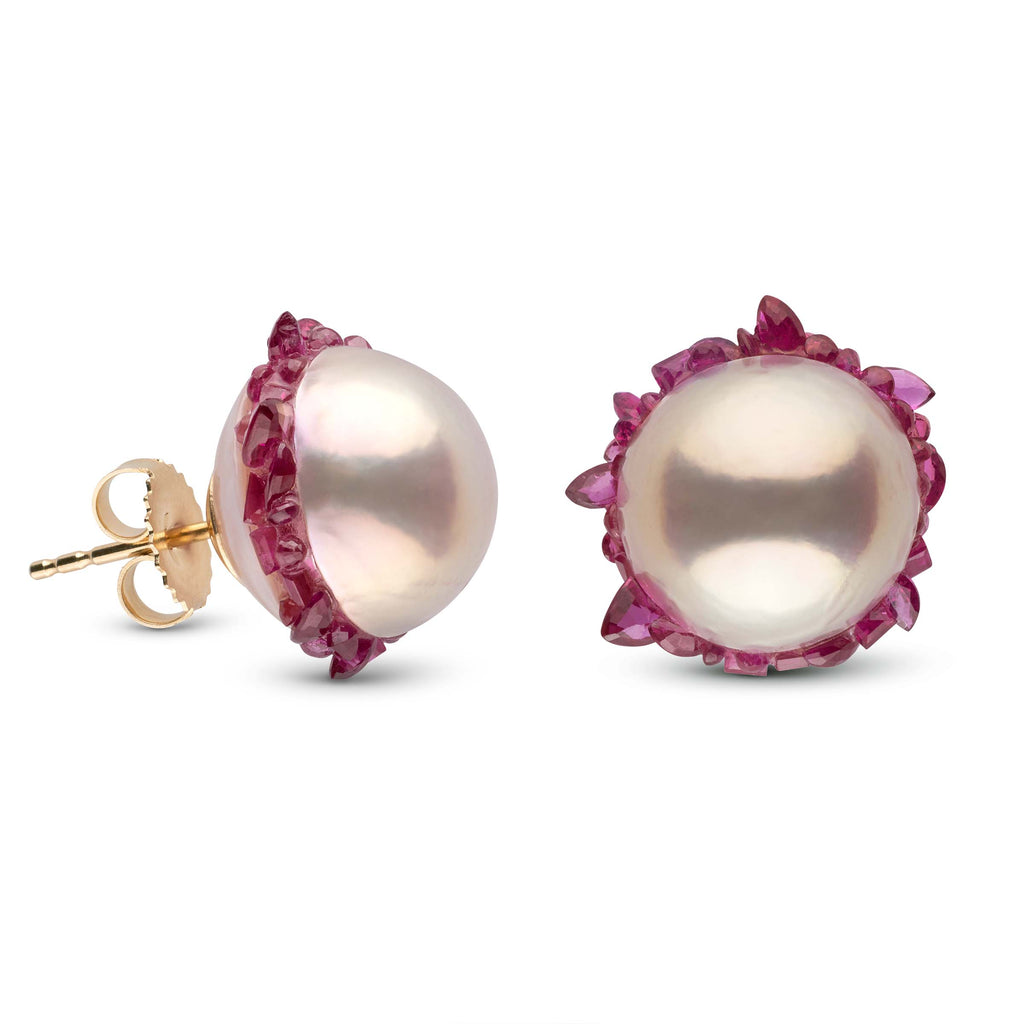 Freshwater Pearls and Ruby Spiral Collection Stud Earrings