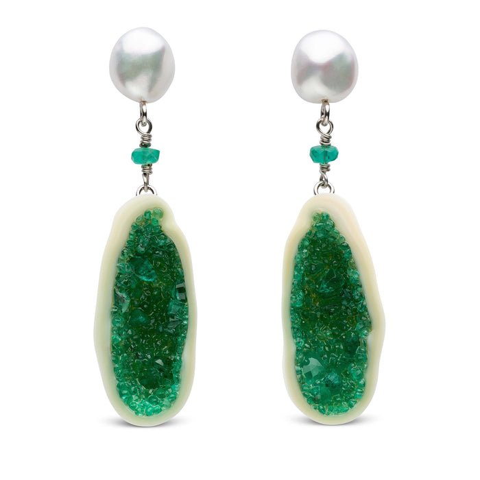Freshwater Pearl and Emerald Geode Drop Earrings