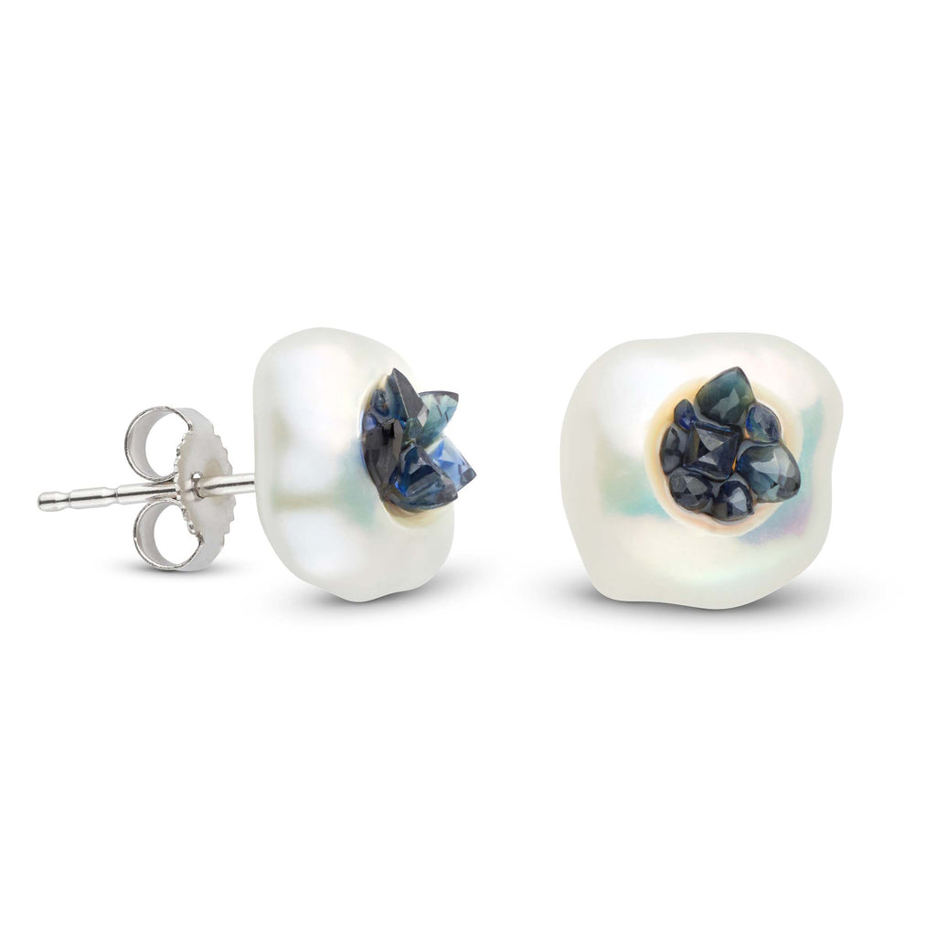 Blue Sapphire Point Pearl Stud Earrings
