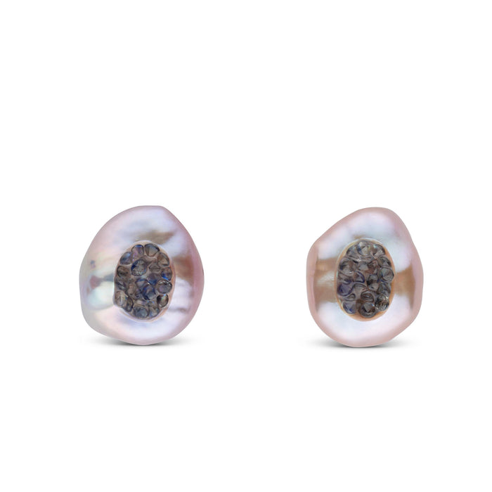 Freshwater Pearl Finestrino Blue Sapphire Studs