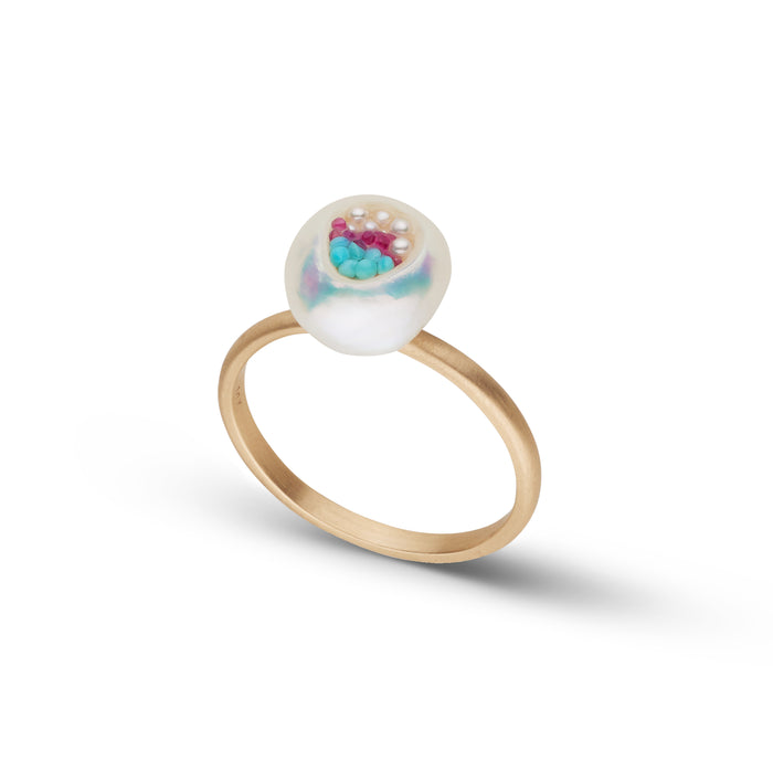 Freshwater Keshi Pearl, Ruby, Seed Pearl and Turquoise Ring
