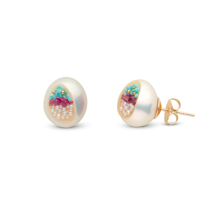 Freshwater Keshi Pearl, Ruby, Seed Pearl and Turquoise Large Stud Earrings