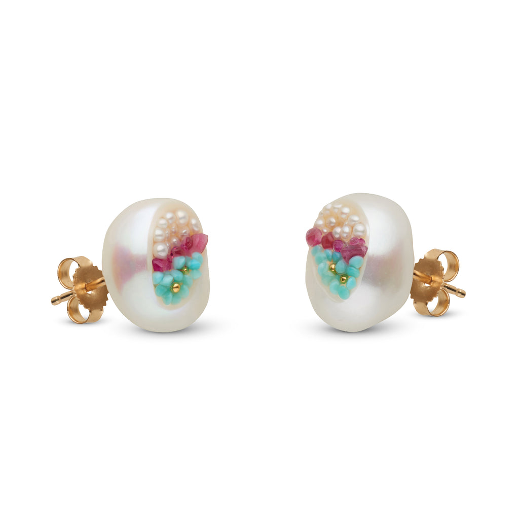 Freshwater Keshi Pearl, Ruby, Seed Pearl and Turquoise Medium Stud Earrings