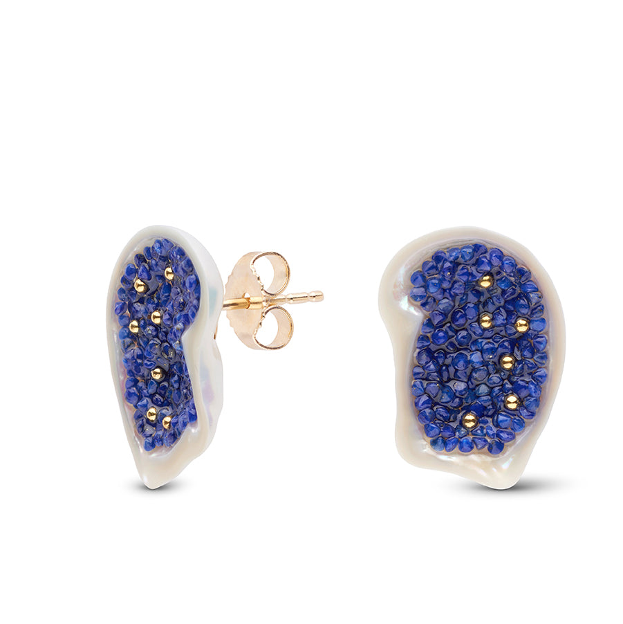 Freshwater Soufflé Pearl Geode and Lapis Stud Earrings