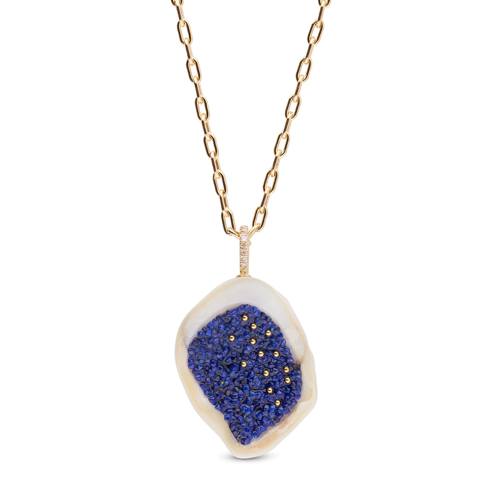 Freshwater Soufflé Pearl Geode and Lapis Pendant