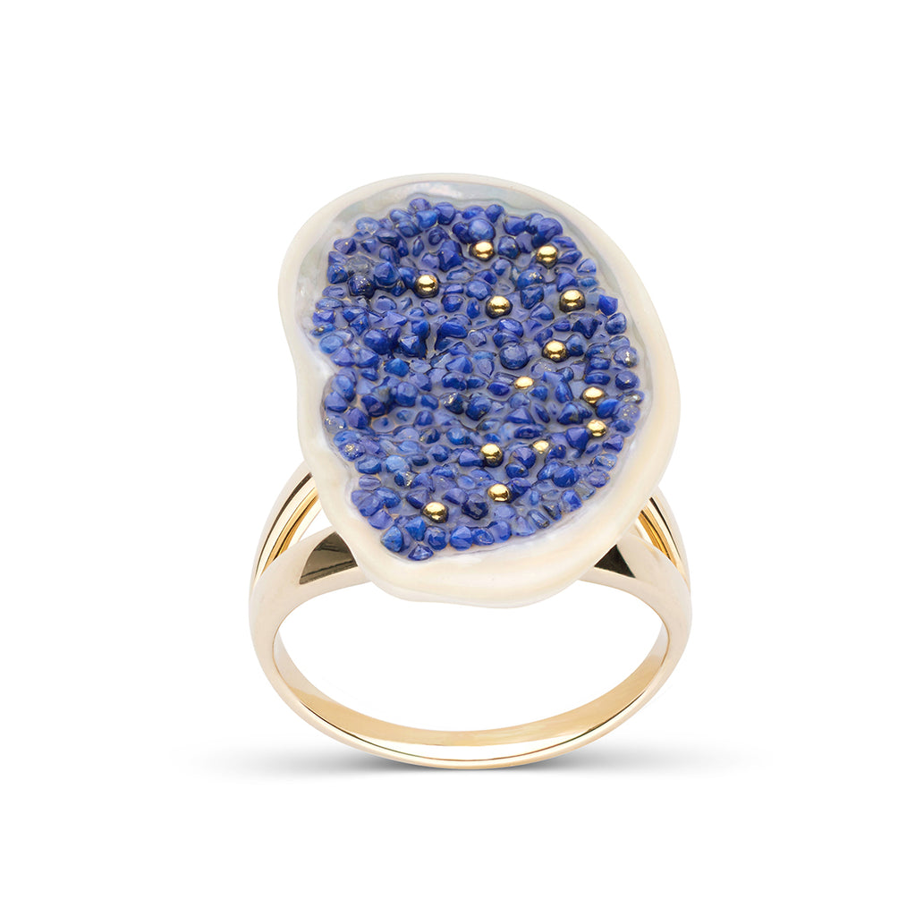 Freshwater Soufflé Pearl Geode and Lapis Ring