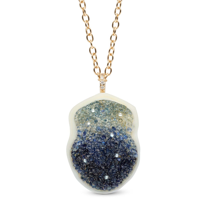 Blue Sapphire Ombre Pearl Geode Collection Pendant