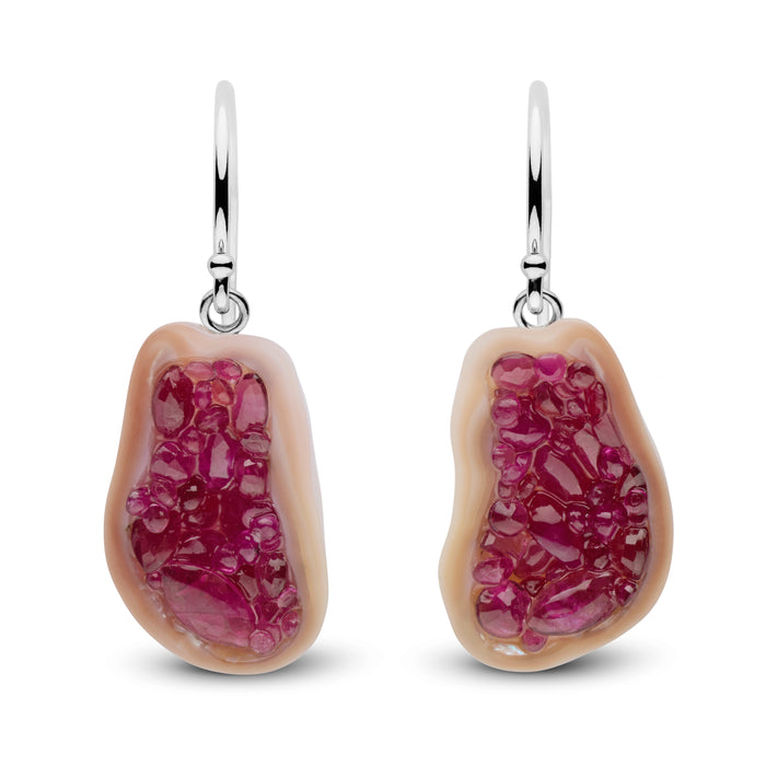 Ruby Pearl Geode Earrings