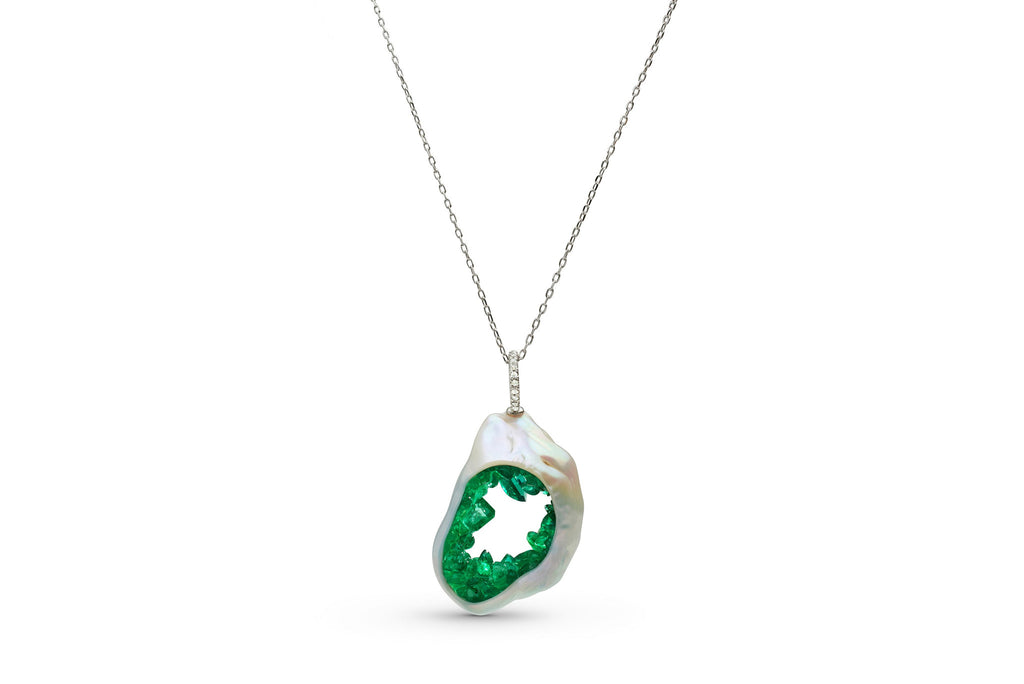 Grotto Collection Emerald and Diamond Pendant