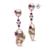 Freshwater Drop Ruby and Souffle Pearl Dangle Earrings