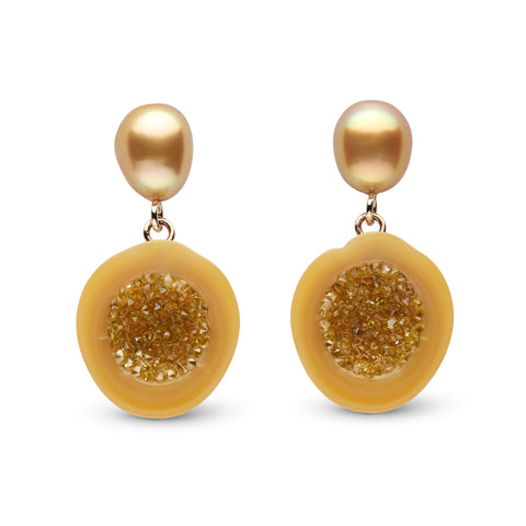 Golden South Sea Pearl and Yellow Diamond Earrings