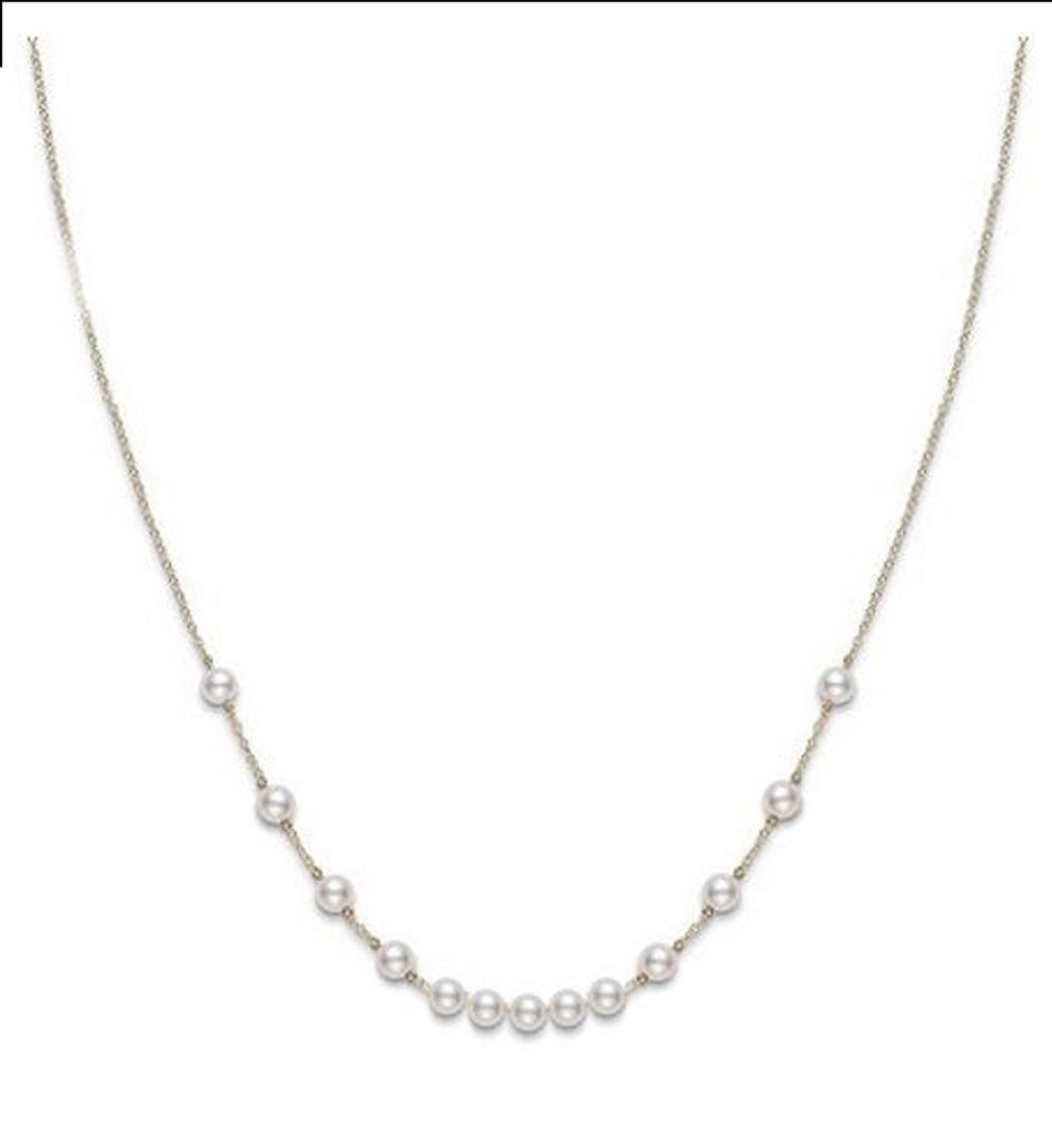 Petite Collection Graduating Pearl Tin-Cup Necklace