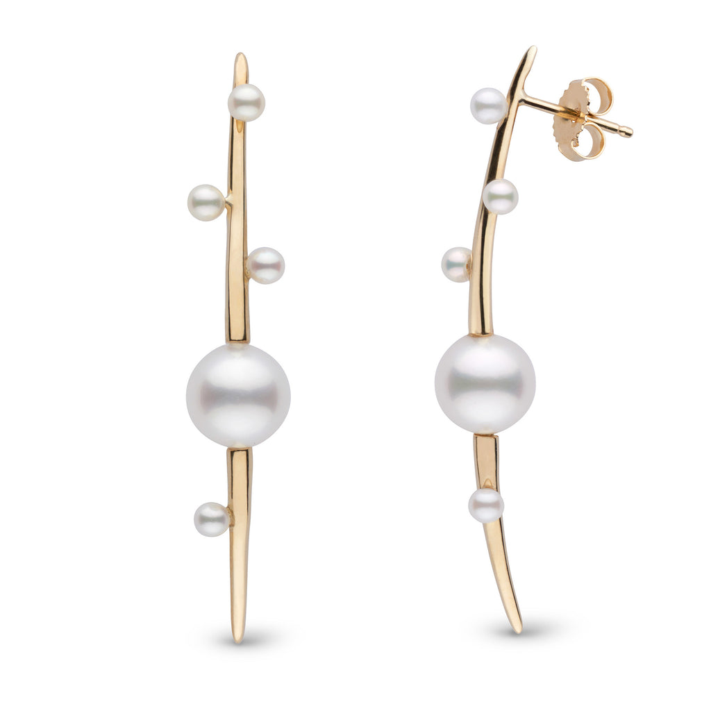 Petite Crescentic Pearl Earrings in 14k Yellow Gold