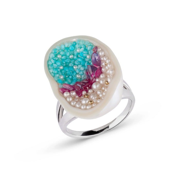 Freshwater Souffle Pearl Geode, Ruby, Seed Pearl and Turquoise Double Band Ring