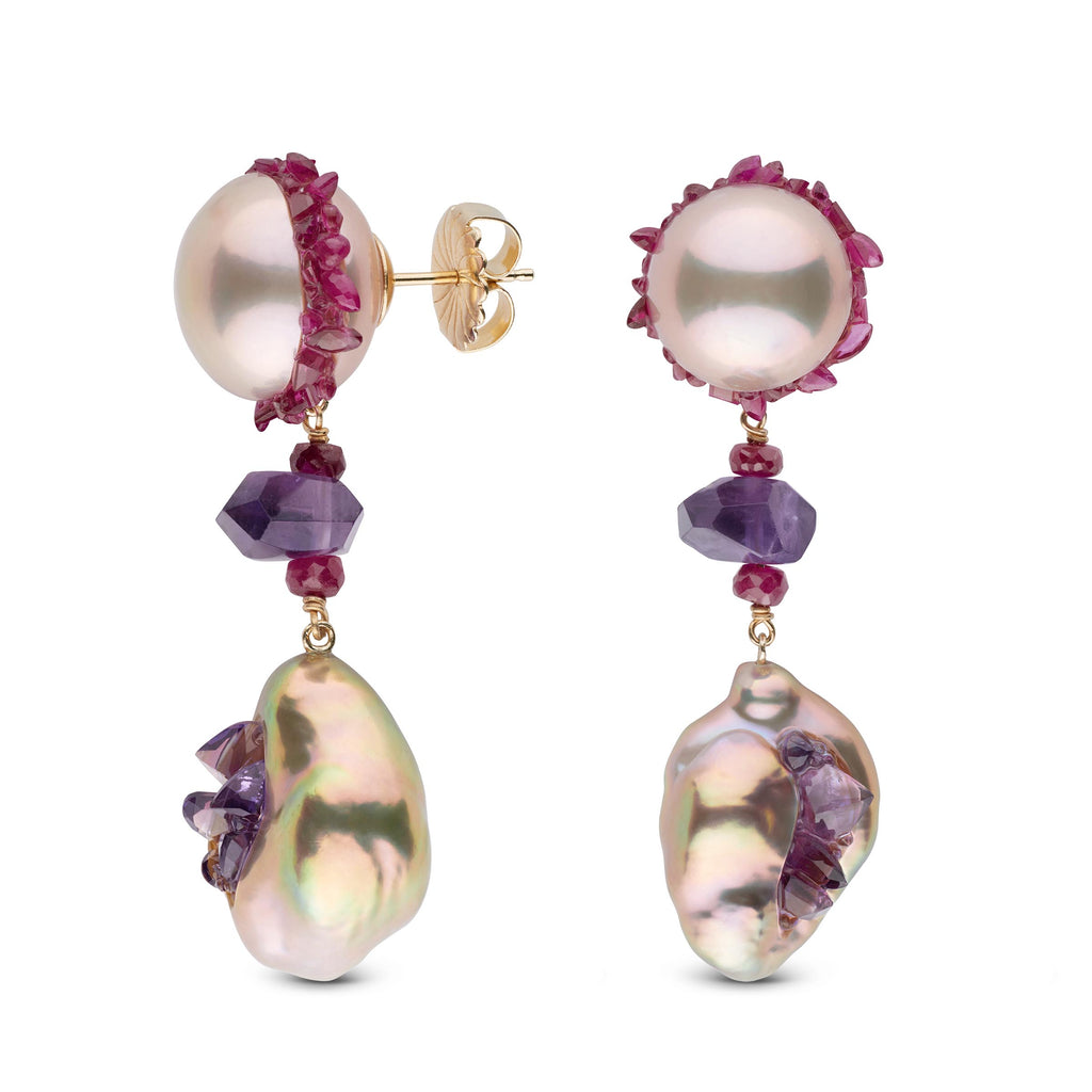 Freshwater Pearls,  Ruby and Amethyst Spiral Collection Dangle Earrings