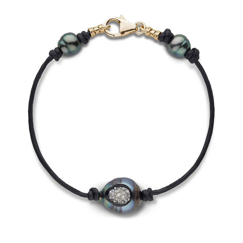 Tahitian Pearl and Diamond Reversible Bracelet in 14k Yellow Gold