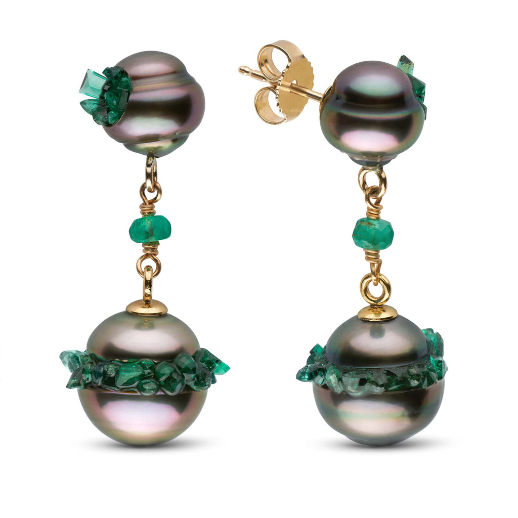 Tahitian Pearl and Emerald Spiral Collection Short Dangle Earrings