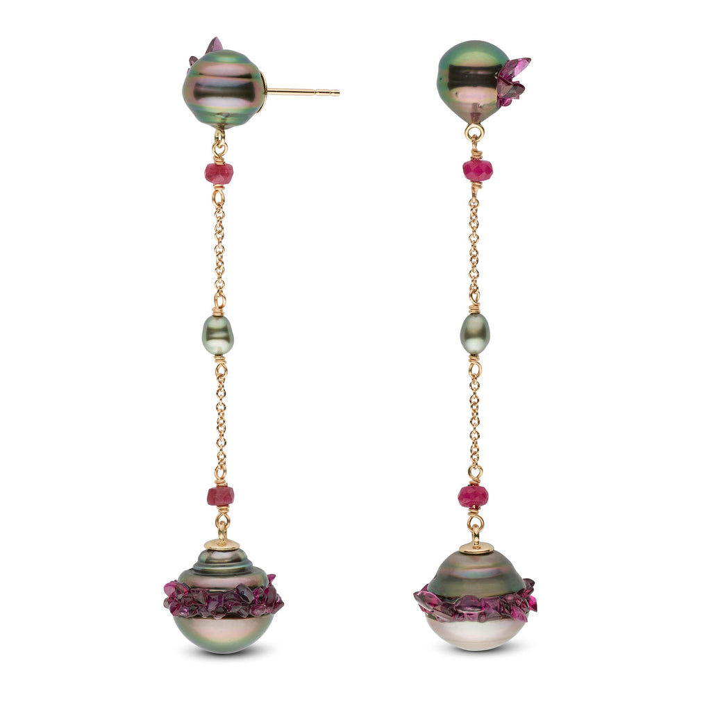 Tahitian Pearl and Ruby Spiral Collection Dangle Earrings