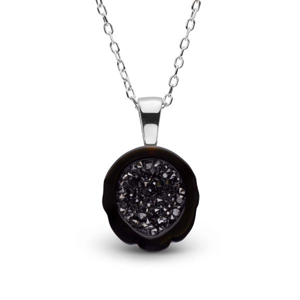 Tahitian Pearl Geode Pendant with Black Diamonds