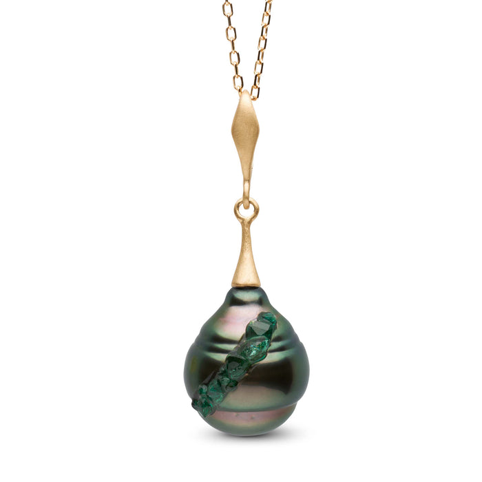 Tahitian Pearl and Emerald Spiral Collection Pendant